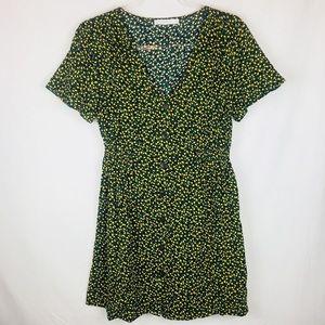 Lush Lemon Floral Print Button Up T-shirt Dress